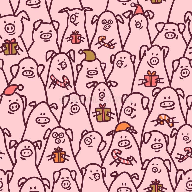 χοίρος προτύπων άνευ ραφής Αστείοι χοίροι με τους καλάμους καραμελών, τα δώρα και τα καπέλα santa 2019 κινεζικά νέα σύμβολα έτους ελεύθερη απεικόνιση δικαιώματος