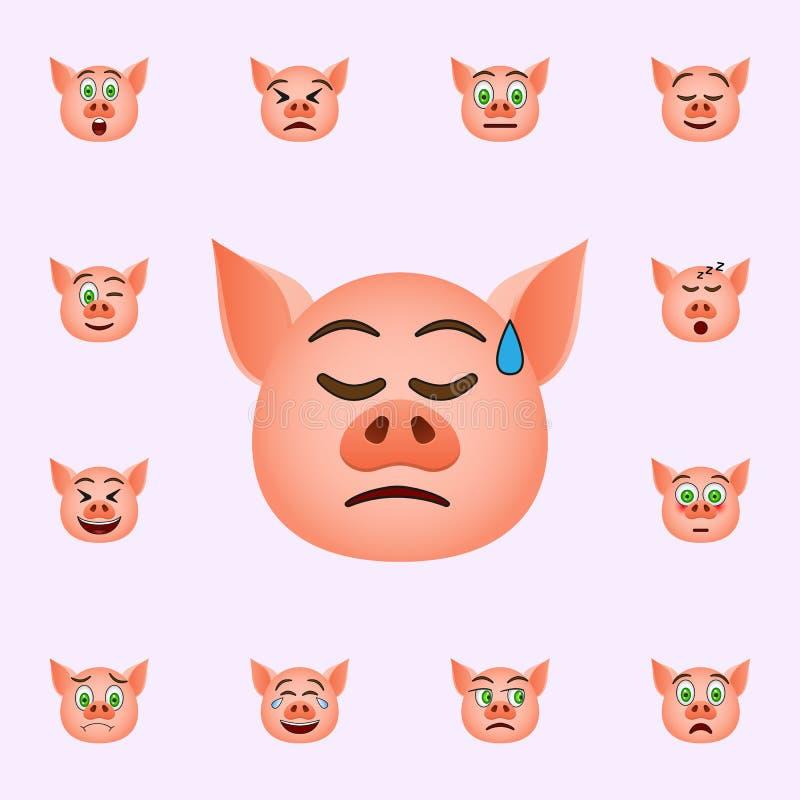 Χοίρος στη θλίψη σε ένα κρύο εικονίδιο emoji ιδρώτα Καθολικό εικονιδίων emoji χοίρων που τίθεται για τον Ιστό και κινητό απεικόνιση αποθεμάτων