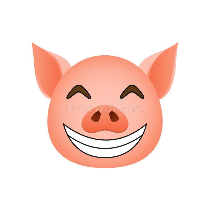 Χοίρος στο ευτυχές εικονίδιο emoji Στοιχείο του νέου εικονιδίου συμβόλων έτους για την κινητούς έννοια και τον Ιστό apps Ο λεπτομ διανυσματική απεικόνιση