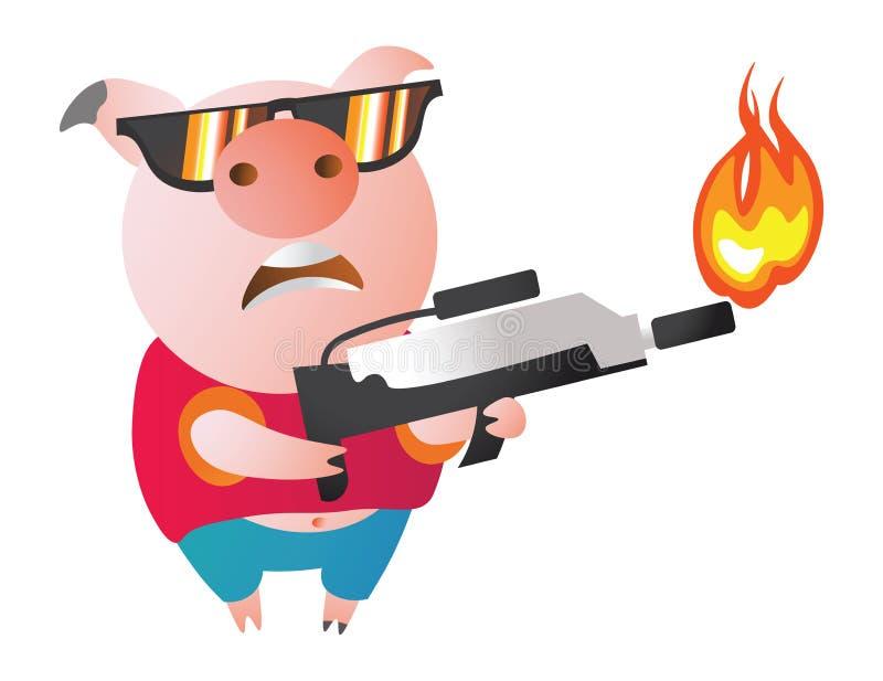 Χοίρος χαρακτήρα Emoji με το φλογοβόλο Σύμβολο του νέου έτους 2019 απεικόνιση αποθεμάτων