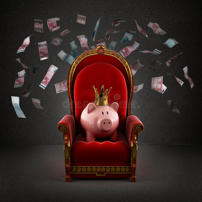 Χοίρος Moneybox στην κορώνα στο βασιλικό θρόνο στοκ φωτογραφία με δικαίωμα ελεύθερης χρήσης