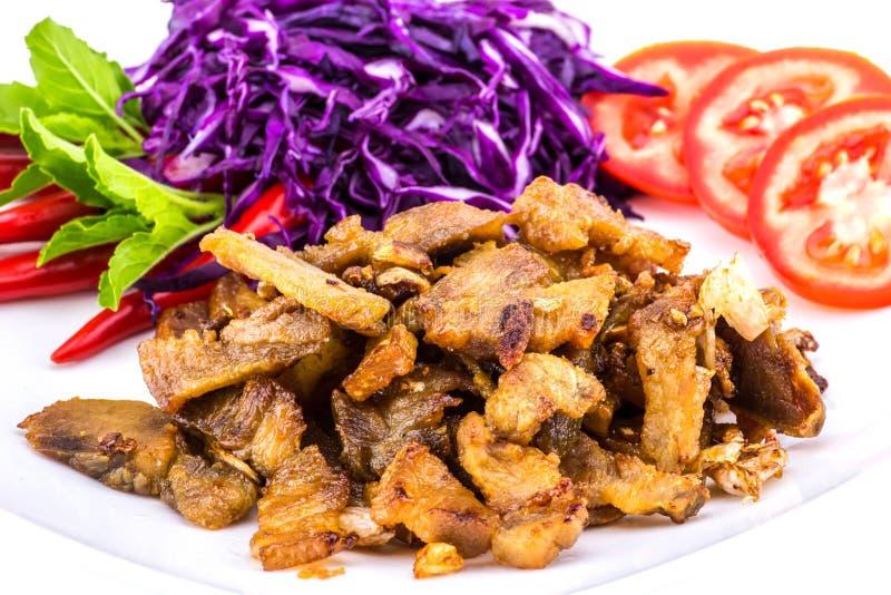 Χοιρινό κρέας που τηγανίζεται με το λαχανικό στοκ φωτογραφία με δικαίωμα ελεύθερης χρήσης
