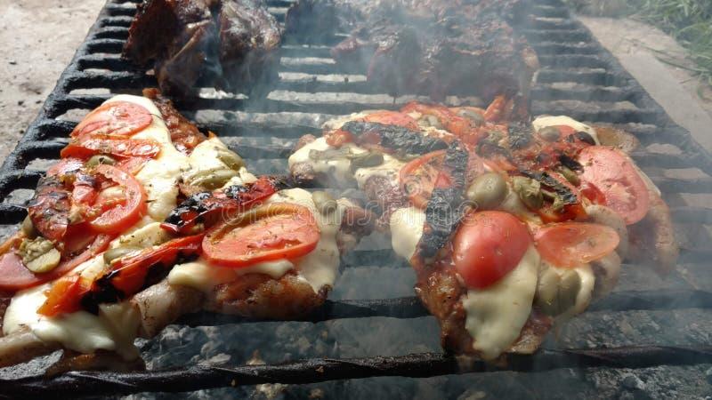 χοιρινό κρέας στην πίτσα στοκ φωτογραφίες