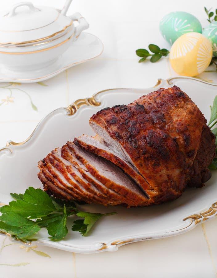 Χοιρινό κρέας ψητού με το ζαμπόν στοκ εικόνες