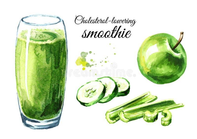Χοληστερόλη που χαμηλώνει το καταφερτζή με το αγγούρι, τη Apple και το σύνολο σέλινου συρμένη χέρι απεικόνιση watercolor, που απο στοκ εικόνες