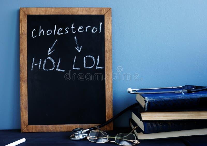 Χοληστερόλη HDL LDL που γράφεται σε έναν πίνακα στοκ εικόνα