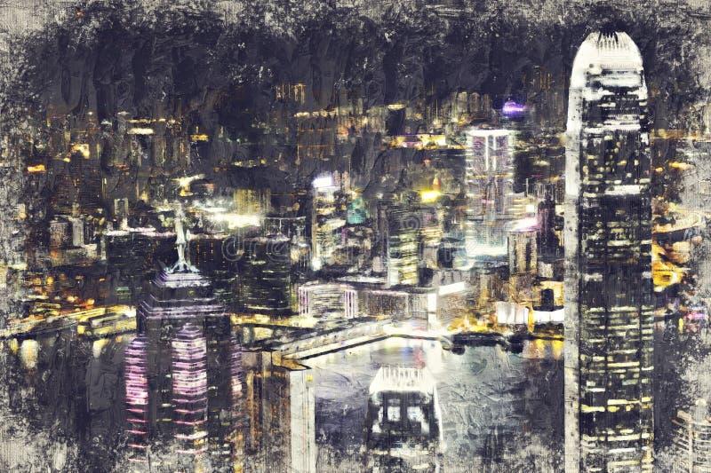 ΧΟΝΓΚ ΚΟΝΓΚ - 3 ΙΟΥΛΊΟΥ: Εικονική παράσταση πόλης του νησιού Χονγκ Κονγκ από Βικτώρια στοκ εικόνες