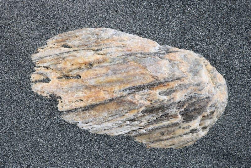 Χονδροειδής άμμος γύρω από την πέτρα στην παραλία στοκ εικόνες