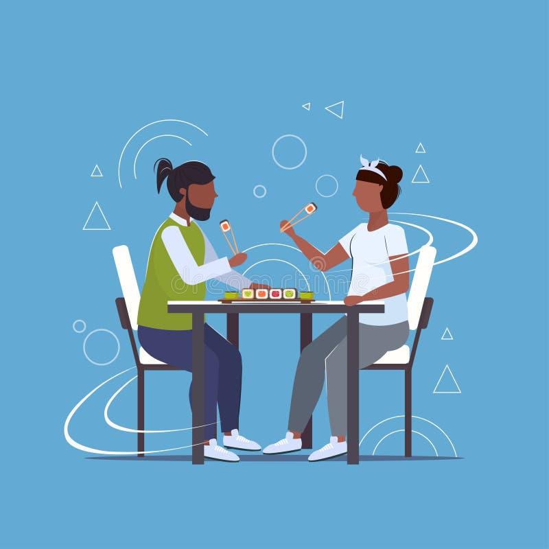 Χοντρό παχύσαρκο ζευγάρι που τρώει σούσι ανθυγιεινό τρόπο ζωής αφρικαΠελεύθερη απεικόνιση δικαιώματος