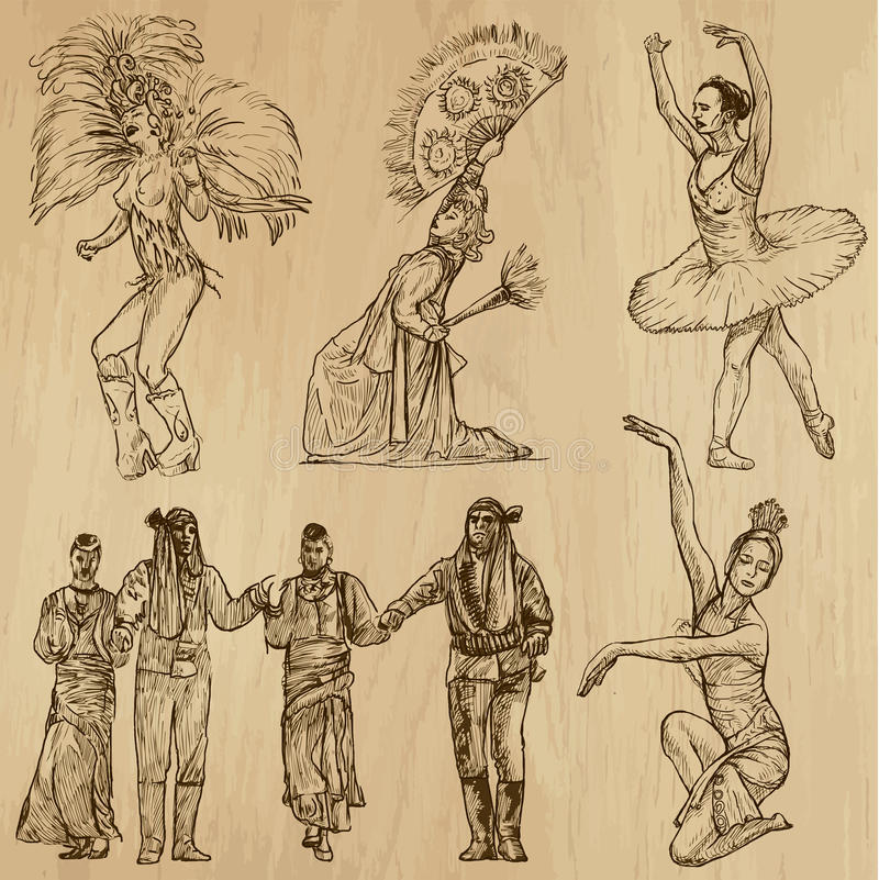 Χορευτές αριθ. 3- συρμένη χέρι συλλογή, διάνυσμα διανυσματική απεικόνιση