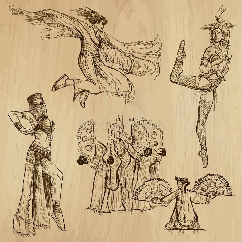 Χορευτές αριθ. 5 - συρμένη χέρι συλλογή, διάνυσμα ελεύθερη απεικόνιση δικαιώματος