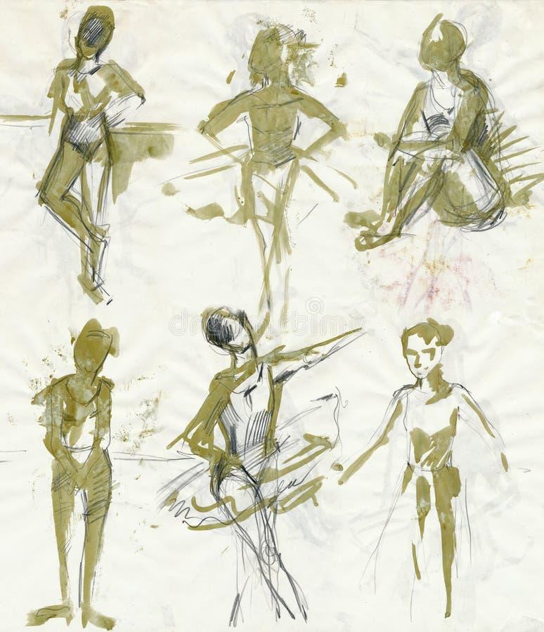χορευτές 1 που σύρουν τις γυναίκες διανυσματική απεικόνιση