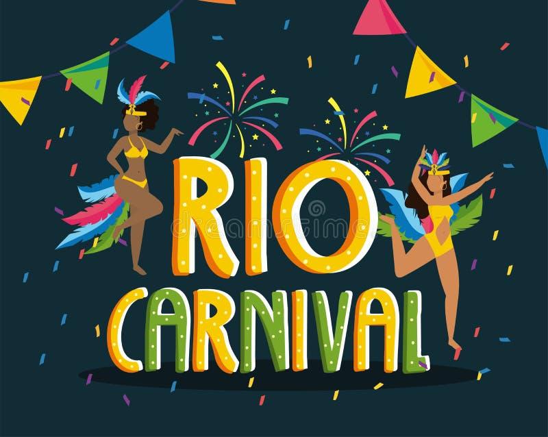 Χορευτής κοριτσιών με το κοστούμι και πυροτεχνήματα στο Ρίο καρναβάλι ελεύθερη απεικόνιση δικαιώματος