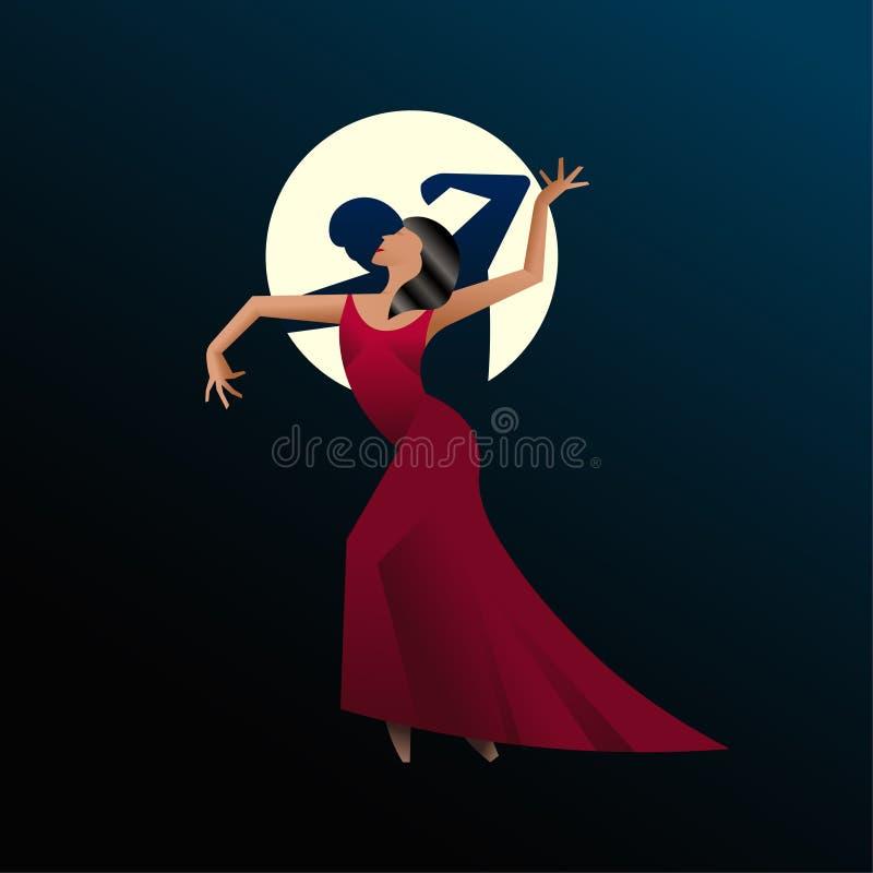 Χορευτής κοριτσιών διανυσματική απεικόνιση