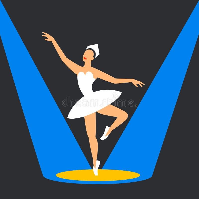 Χορευτής μπαλέτου στη σκηνή ballerina που χορεύει στα κυριώτερα σημεία επίπεδη εικόνα ύφους σε ένα σκοτεινό υπόβαθρο απεικόνιση αποθεμάτων