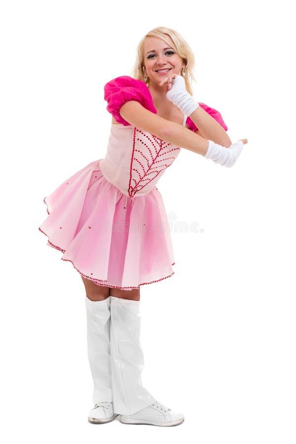 Χορευτής Disco που παρουσιάζει μερικές μετακινήσεις ενάντια στο απομονωμένο λευκό στοκ φωτογραφία με δικαίωμα ελεύθερης χρήσης