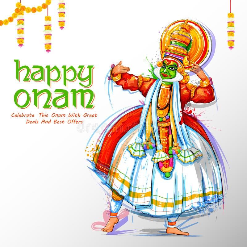 Χορευτής Kathakali στη διαφήμιση και υπόβαθρο προώθησης για το ευτυχές φεστιβάλ Onam της νότιας Ινδίας Κεράλα διανυσματική απεικόνιση
