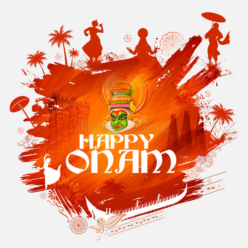 Χορευτής Kathakali στο υπόβαθρο για το ευτυχές φεστιβάλ Onam της νότιας Ινδίας Κεράλα απεικόνιση αποθεμάτων