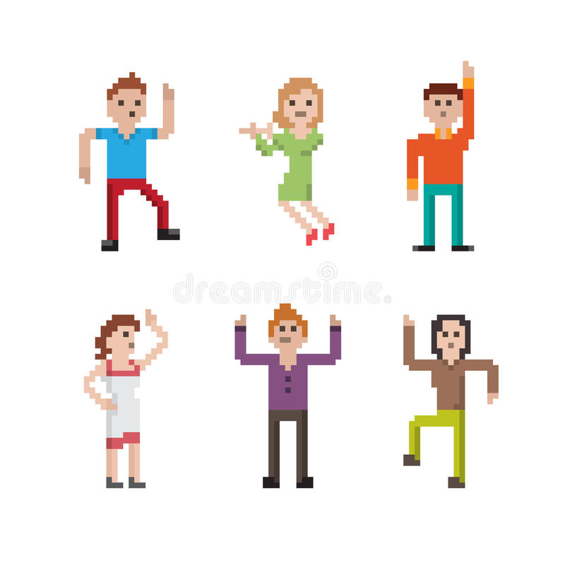 Χορεύοντας άνθρωποι εικονοκυττάρου καθορισμένοι στοκ φωτογραφία
