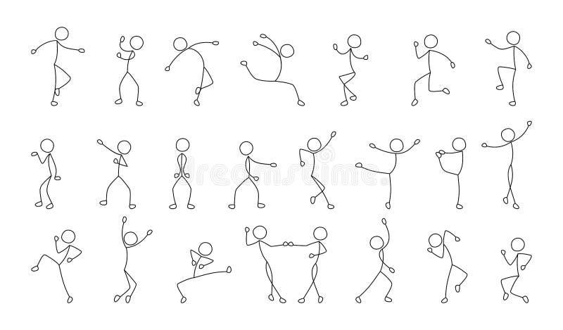 Χορεύοντας άνθρωποι, ελεύθερο σχέδιο, σκίτσο απεικόνιση αποθεμάτων