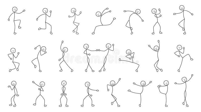 Χορεύοντας άνθρωποι, ελεύθερο σχέδιο, σκίτσο διανυσματική απεικόνιση