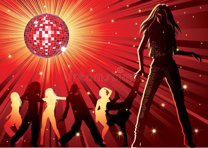 χορεύοντας άνθρωποι νύχτα& διανυσματική απεικόνιση