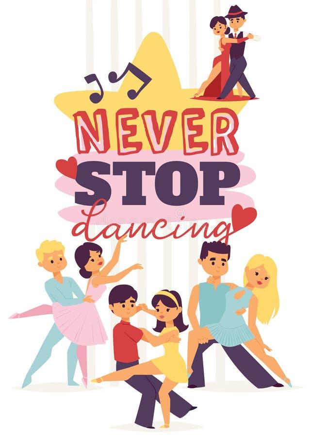 Χορεύοντας αίθουσα χορού ανδρών και γυναικών, αθλητικοί χοροί Τανγκό, βαλς, λατινοαμερικάνικη διανυσματική απεικόνιση χορών Στούν ελεύθερη απεικόνιση δικαιώματος