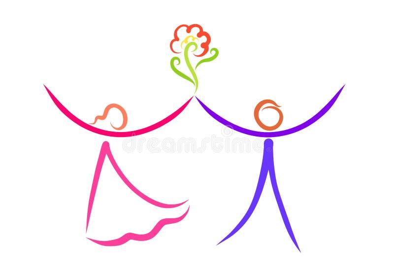 Χορεύοντας αφηρημένο ζεύγος και λουλούδι, ειδύλλιο και φιλία ελεύθερη απεικόνιση δικαιώματος
