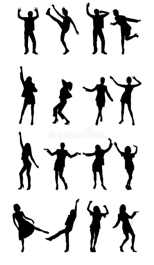 χορεύοντας ευτυχείς άνθρωποι διανυσματική απεικόνιση