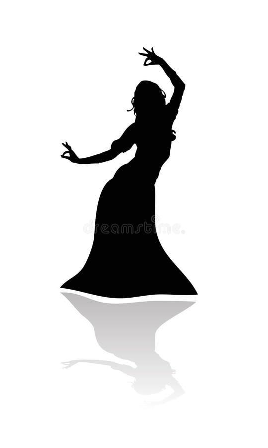 χορεύοντας ινδή ινδική γυναίκα διανυσματική απεικόνιση