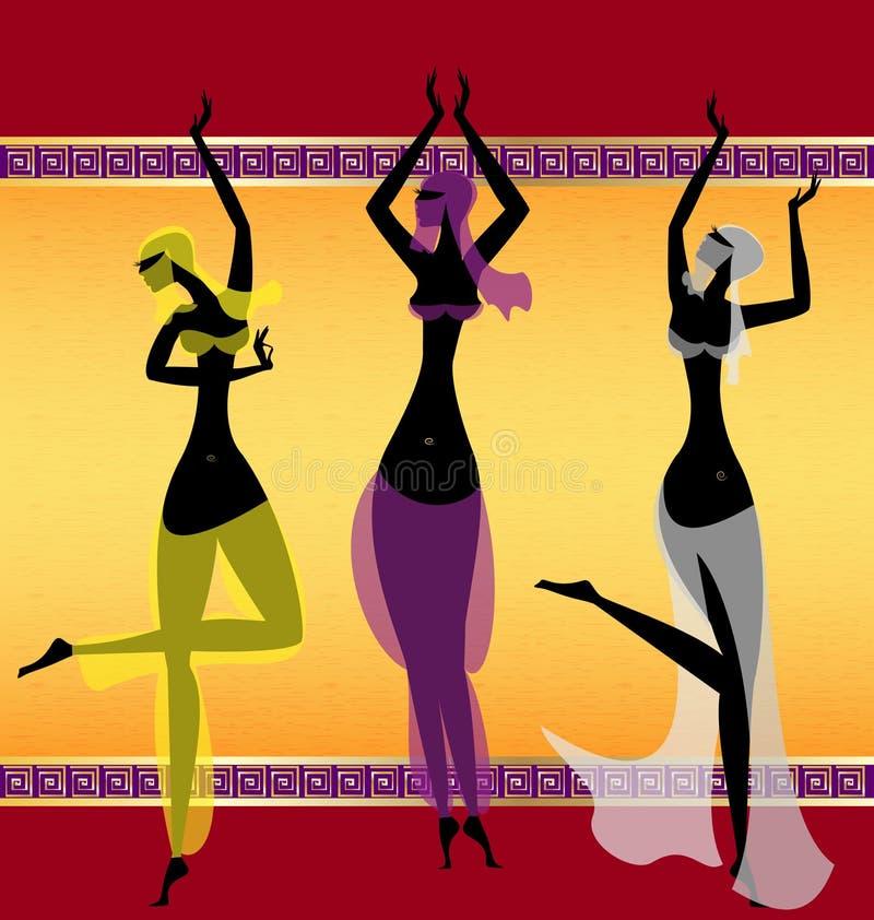 χορεύοντας κορίτσια Ασιάτης τρία απεικόνιση αποθεμάτων
