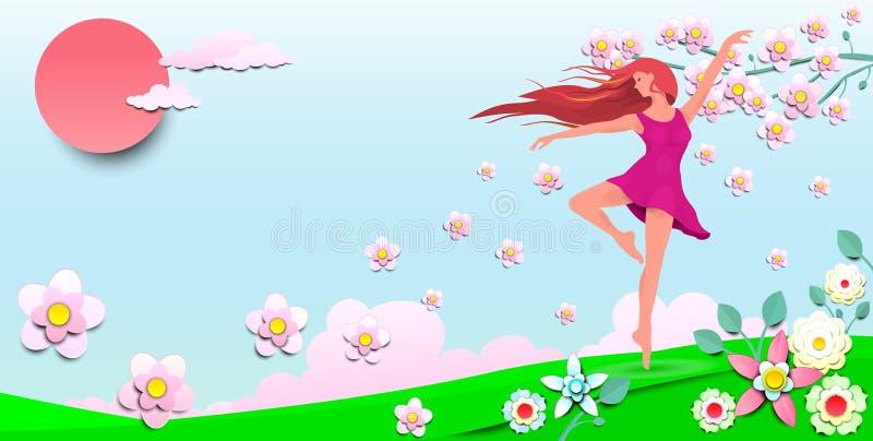 Χορεύοντας κορίτσι μεταξύ των λουλουδιών 1 διανυσματική απεικόνιση