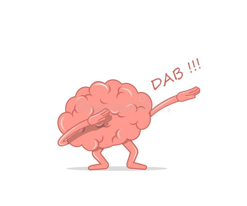 Χορεύοντας κτύπημα εγκεφάλου κινούμενων σχεδίων Απομονωμένος εγκέφαλος χαρακτήρα ο χορός ιδιόμορφος για τη διαφημιστική εκστρατεί διανυσματική απεικόνιση