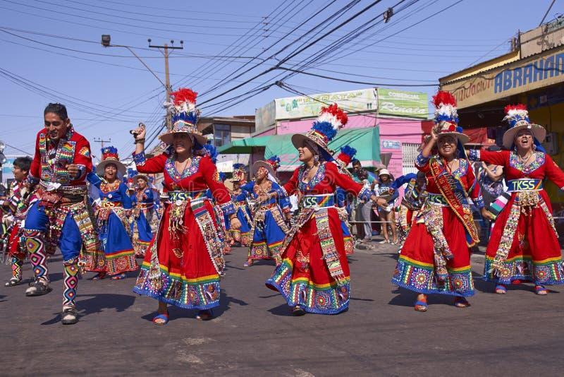 Χορεύοντας ομάδα Tinku - Arica, Χιλή στοκ εικόνες
