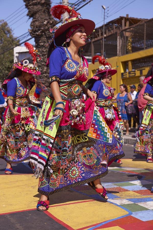 Χορεύοντας ομάδα Tinku - Arica, Χιλή στοκ εικόνα