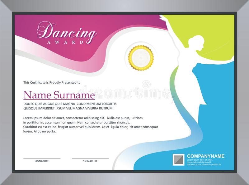 Χορεύοντας πιστοποιητικό απεικόνιση αποθεμάτων