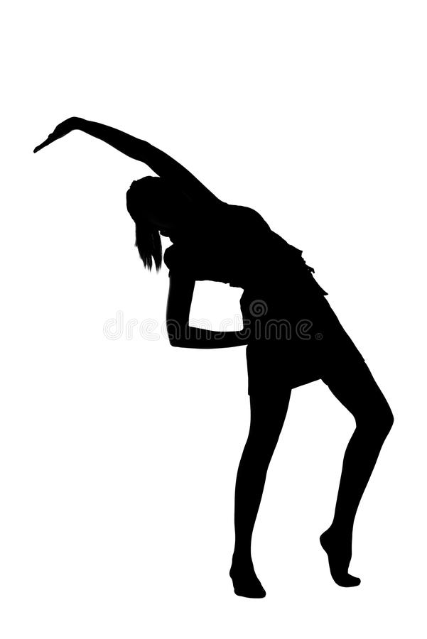 Χορεύοντας σκιαγραφία γυναικών στοκ φωτογραφία