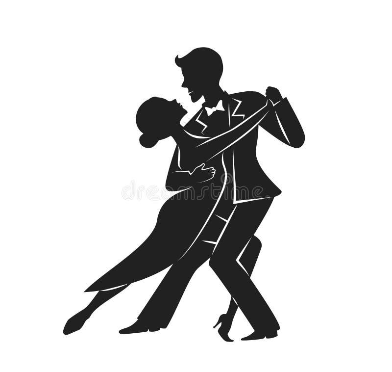 Χορεύοντας σκιαγραφία τανγκό ζεύγους διανυσματική απεικόνιση