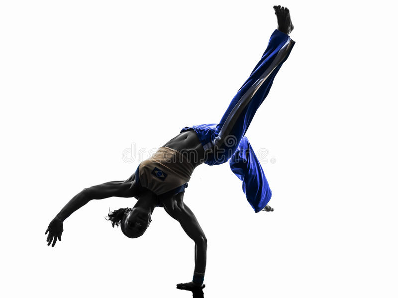 Χορεύοντας σκιαγραφία χορευτών capoeira γυναικών στοκ φωτογραφία με δικαίωμα ελεύθερης χρήσης