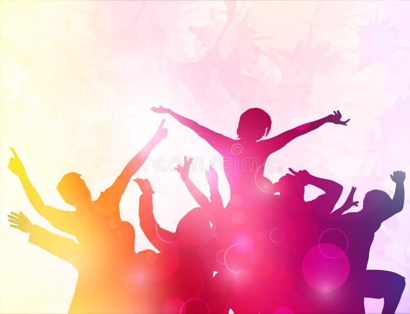 Χορεύοντας σκιαγραφίες ανθρώπων απεικόνιση αποθεμάτων