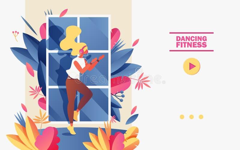 Χορεύοντας σχολικό έμβλημα ικανότητας ή προσγειωμένος garient πρότυπο σελίδων Διανυσματική απεικόνιση έννοιας με τη νέα γυναίκα π διανυσματική απεικόνιση