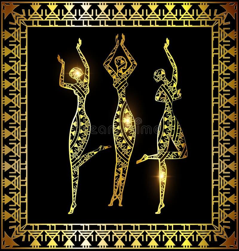 Χορεύοντας χρυσά κορίτσια διανυσματική απεικόνιση