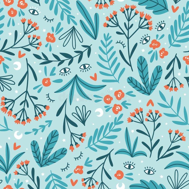 Χορτάρια φεγγαριών Διανυσματικό floral άνευ ραφής σχέδιο Χαριτωμένο σχέδιο νύχτας για το ύφασμα, την ταπετσαρία ή το έγγραφο περι διανυσματική απεικόνιση