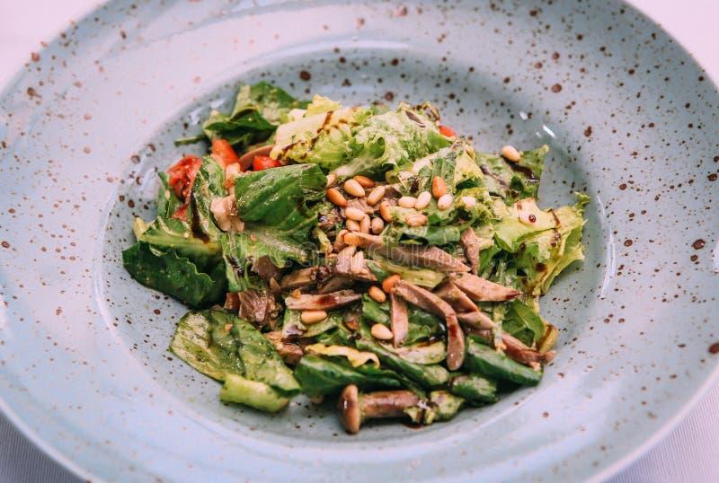 Χορτοφάγος σαλάτας άνοιξη με τα μανιτάρια πρασίνων στοκ φωτογραφία