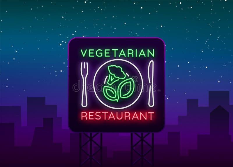 Χορτοφάγο λογότυπο εστιατορίων Σημάδι νέου, vegan σύμβολο, φωτεινό φωτεινό σημάδι, νύχτα νέου που διαφημίζει στο θέμα απεικόνιση αποθεμάτων