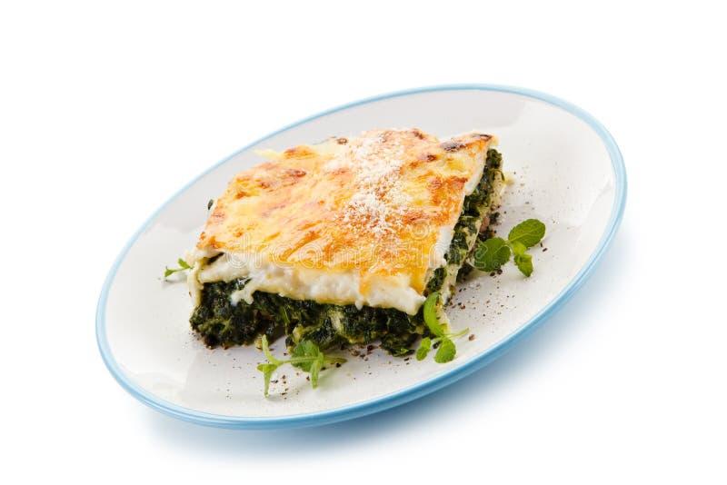 Χορτοφάγο lasagna με το σπανάκι στοκ εικόνες
