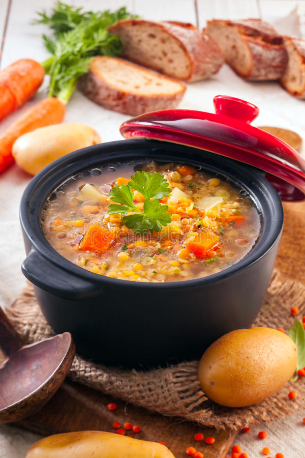 Χορτοφάγο stew λαχανικών και φακών στοκ εικόνες με δικαίωμα ελεύθερης χρήσης