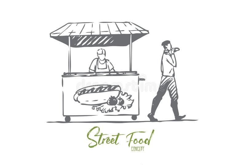 Χοτ-ντογκ, γρήγορο φαγητό, περίπτερο, έννοια οδών r απεικόνιση αποθεμάτων