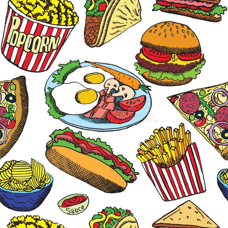 Χοτ-ντογκ με το ένα λουκάνικο, burger, σάντουιτς, τα tacos, popcorn, τα τσιπ, τις τηγανιτές πατάτες, την πίτσα με το σαλάμι, το μ ελεύθερη απεικόνιση δικαιώματος