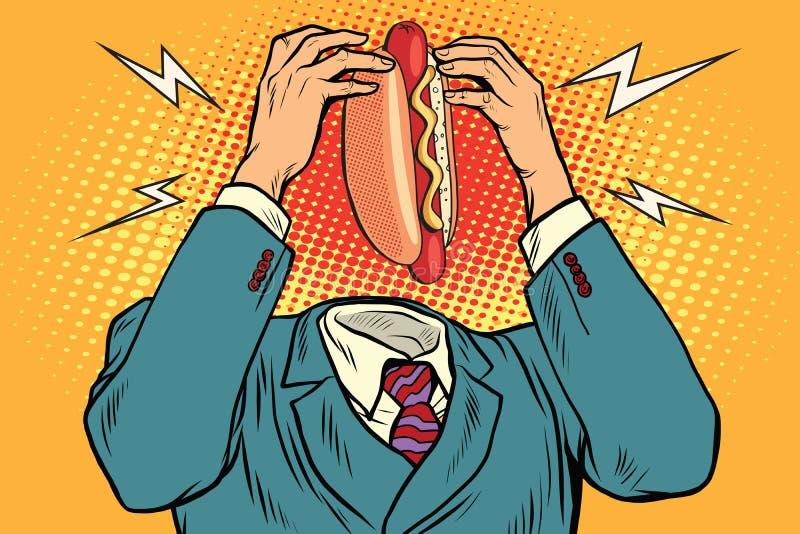 Χοτ-ντογκ πείνας αντί του κεφαλιού ελεύθερη απεικόνιση δικαιώματος